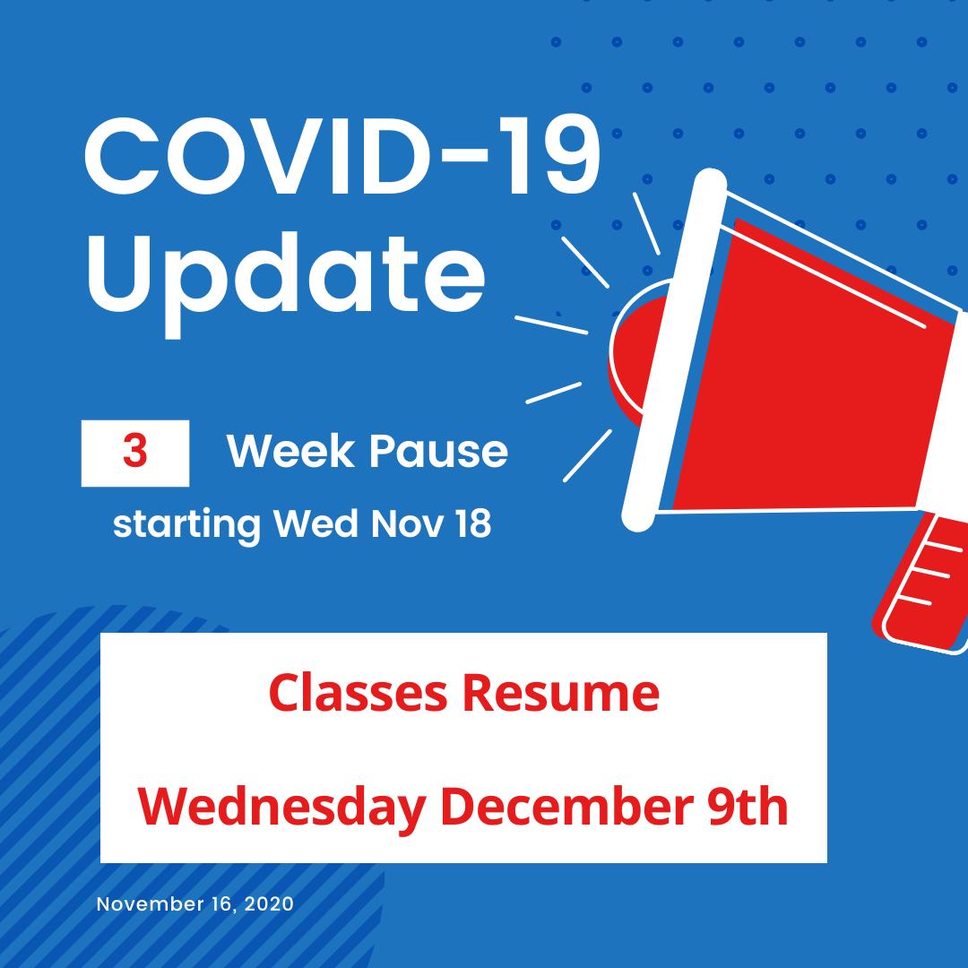 Covid-19 Update 3 week pause